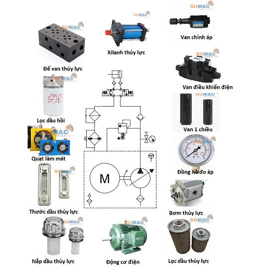 sơ đồ hệ thống thủy lực cho máy ép thủy lực